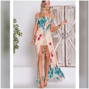♨️JUST IN♨️Bold Tropical Print Maxi Dress Romper